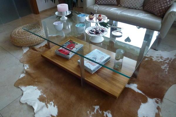 Glastisch mit Edelstahl und Palisander